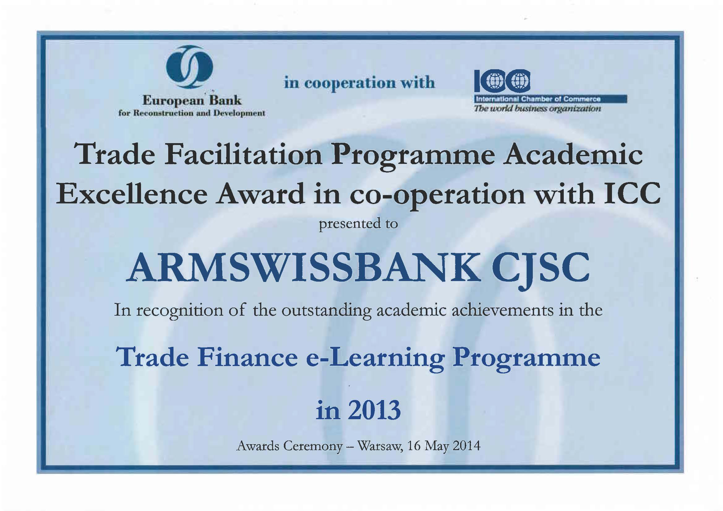 Armswissbank Was Awarded With The Certificate Of Trade Facilitation