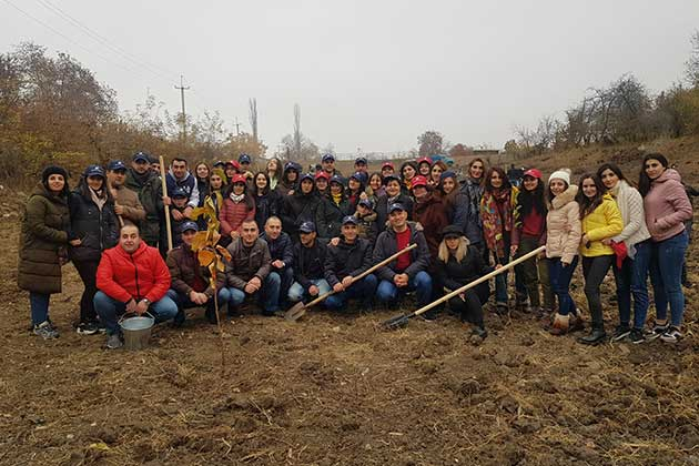 "WORKS HAVE BEEN CARRIED OUT BY ""ARMSWISSBANK"" CJSC FOR THE ESTABLISHMENT OF THE ORCHARD NEAR THE SECONDARY SCHOOL OF SEVKAR COMMUNITY IN TAVUSH REGION"