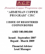 "BONDS OF ""ARMENIAN COPPER PROGRAM"" CJSC"