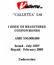 """BONDS OF ""VALLETTA"" LTD (I ISSUE)"