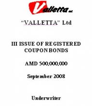 "BONDS OF ""VALLETTA"" LTD (III ISSUE)"