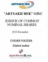 "SHARES OF ""ARTSAKH HEK"" OJSC"